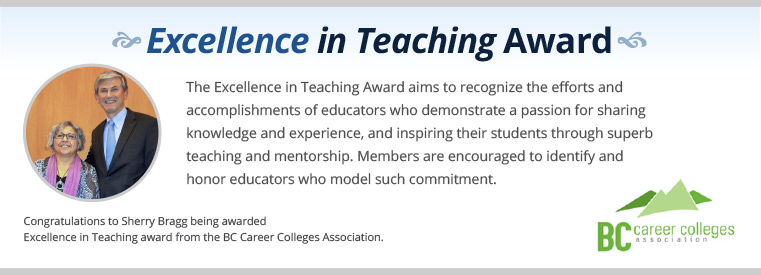 Sherry Bragg accepting an award. Text on the image says Excellence in Teaching award. The Excellence in Teaching Award aims to recognize the efforts and accomplishments of educators who demonstrate a passion for sharing knowledge and experience, and inspiring their students through superb teaching and mentorship. Members are encouraged to identify and honor educators who model such commitment.