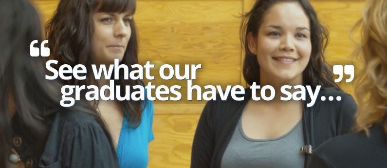 Discovery College students chatting in the hallway. Text on the image says See what our graduates have to say.